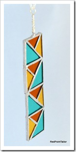 Art Deco inspired Pendant - see green, orange and gold stained glass silverplated chain