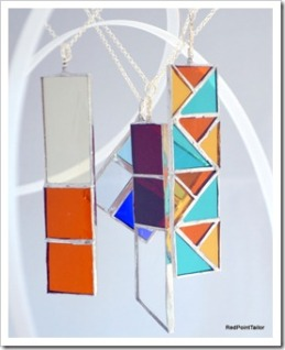 Art Deco Inspired stylish classic pendant - stained glass with silver plaited chain