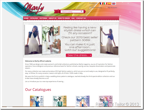 Marfy, website, new look, Feminine patterns