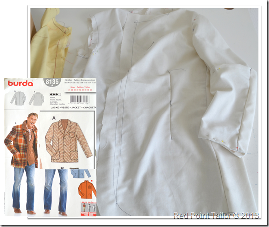 Mans's jacket Burda 8135 pattern, muslin