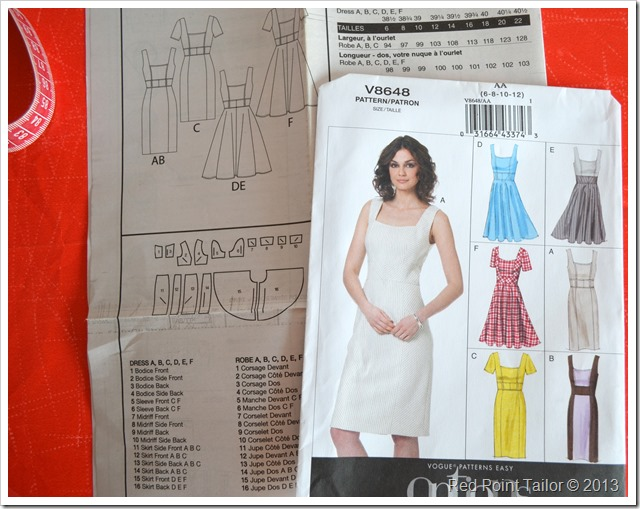 V8648 Vogue dress pattern envelope description