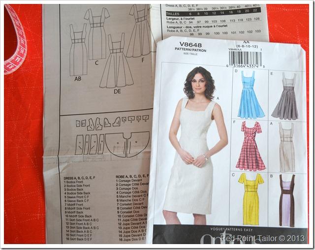 V8648 Vogue dress pattern envelope description