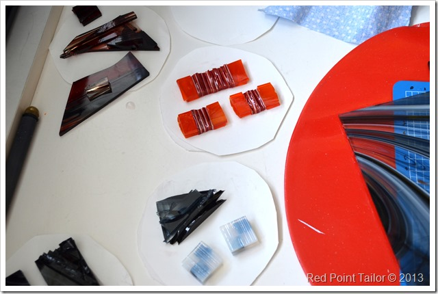 Working on a custom order fused glass jewelry pendant earrings necklace