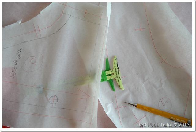 V8648 Vogue dress pattern step by step - marking seam allowances