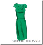 V8787 dress with drape front