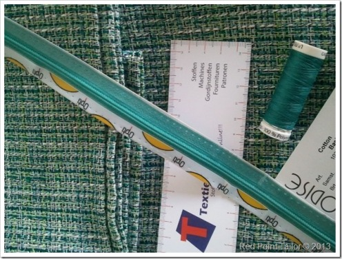 Chanel like / tweed fabric see green cotton linen silk