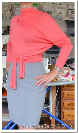 Vintage wrap top Advance 8190 first fit by Red Point Tailor