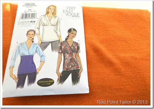 Top from orange jersey based on Vogue pattern V8649