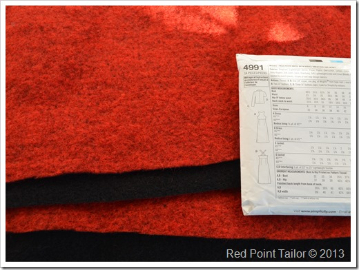 A Jacket from boiled wool black/red based on Simplicity pattern 4991