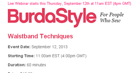 BurdaStyle Live Webinars - new source of sewing courses?