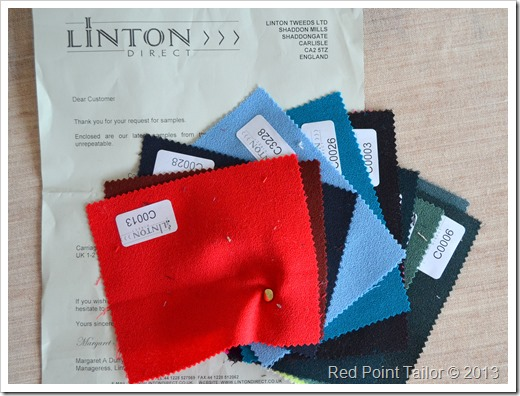 the fabric samples of current Linton Fabrics and Wool Crepe.