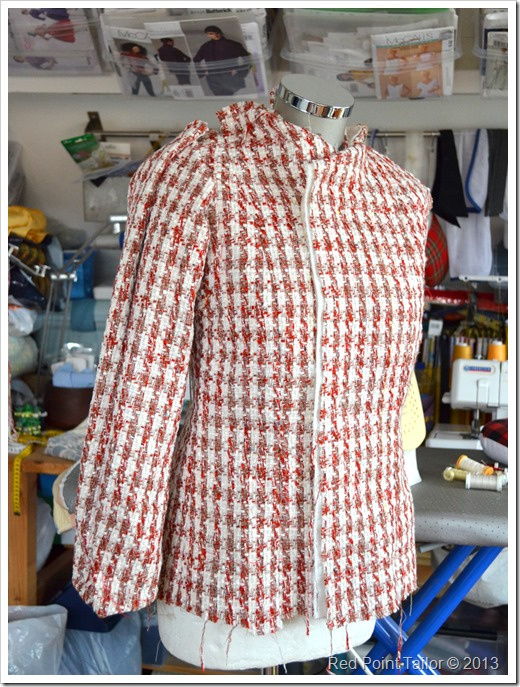 French jacket progress - joining quilted pattern pieces