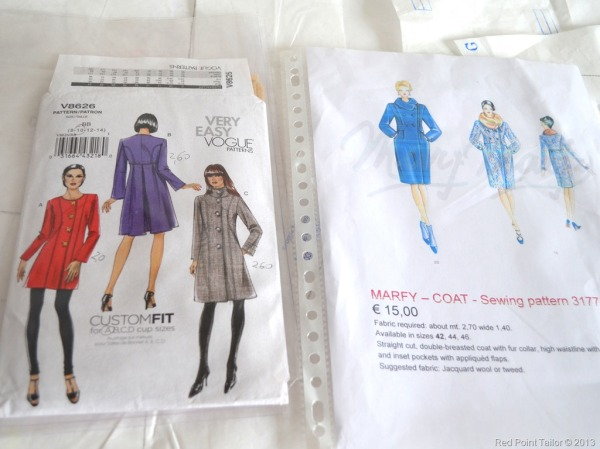Vogue pattern, V8626, Marfy pattern, 3177, Marfy, coat, coat pattern, couture
