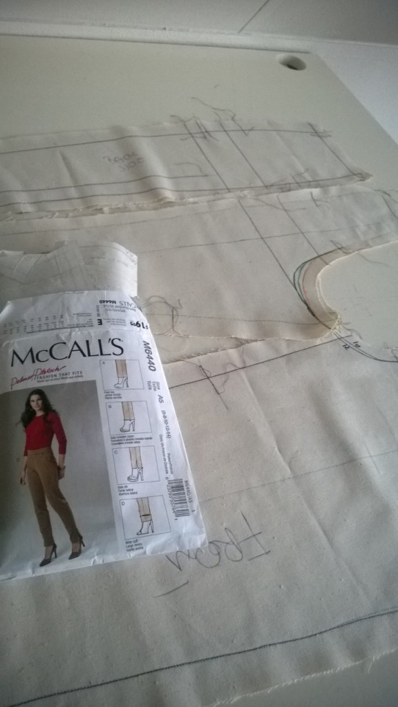 Working on muslin for pants McCalls M6440