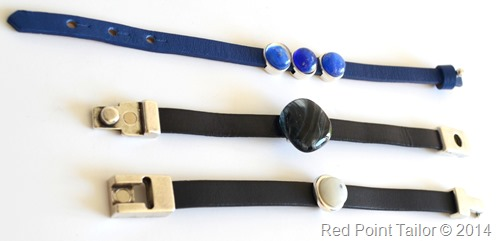 fashion accessoris, bracelets fused glass beads leather bands - Red Point Tailor jewellry - design