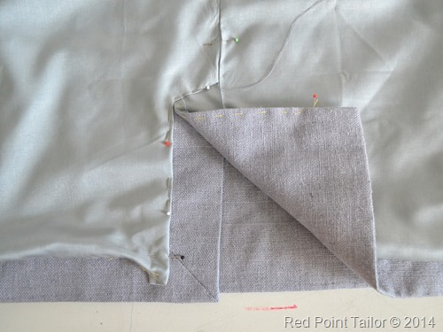working on pencil skirt - lining back split - made by Red Point Tailor - couture atelier