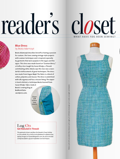 THREADS MAGAZINE ISSUE 174 AUG_SEP 14 Readers Closet, RPT Couture, couture dress, made by Red Point Tailor