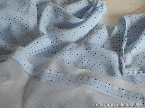 Burda Retro Wrap Top 134 working on a neckline, sil organza - Red Point Tailor couture atelier