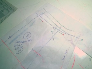 Working on a pants - making adjustments on paper form