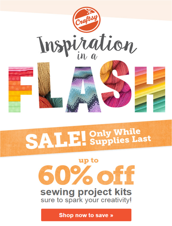 Up to 60% off sewing project kits, going fast! Flash sale starts now...