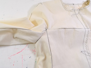 New couture challenge - Jacket by Marfy 3350 - working on muslin - checking underarm seams
