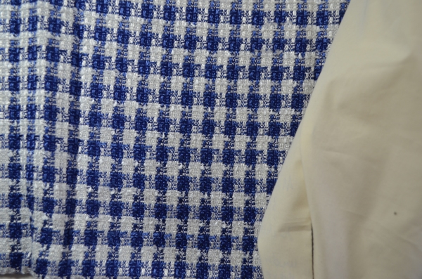 The blue/white fabric is loose woven wool bland for Marfy 3350 jacket