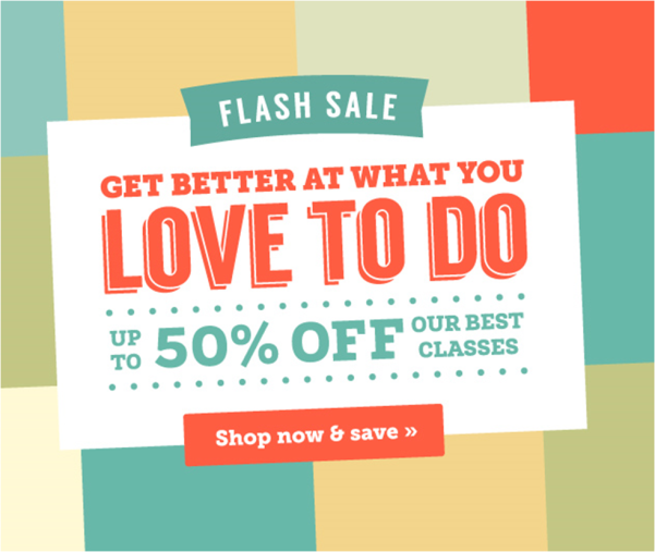 Craftsy Weekend Flash Sale up to 50% OFF our Best Classes